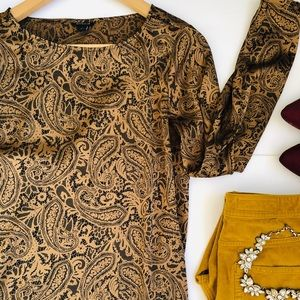 Ann Taylor Lace Design Long Sleeve Gold Blouse XS